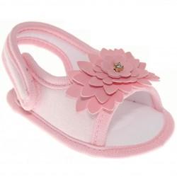 Sand�lia Keto Baby Menina Velcro Flor Strass 30374