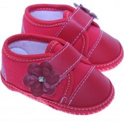 Sapato Keto Baby Menina Velcro Corino Flor Strass 31270