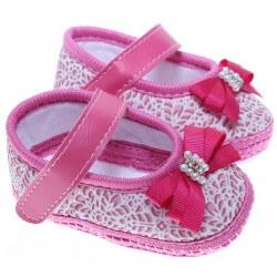 Sapato Keto Baby Menina Velcro Laço Pérola Estampado 31252