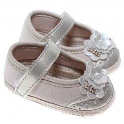 Sapato Keto Baby Menina Velcro Ponteira Corino Laço Strass 31257