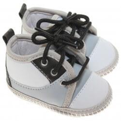 Sapato Keto Baby Menino Cadarço Recorte Cinza Preto 31261