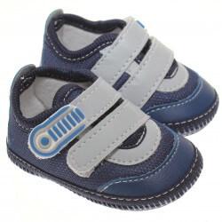 Sapato Keto Baby Menino Velcro Detalhe Corino Cinza 31258