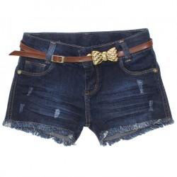 Shorts Jeans Akiyoshi Menina Puidos e Cinto Laço Metal 30449