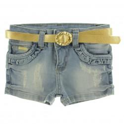 Shorts Jeans Garota Lua Infantil Juvenil Bolso Babado 29163