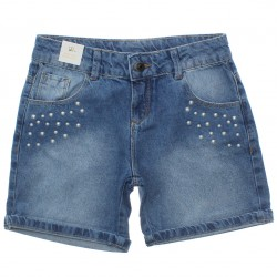 Shorts Jeans Infantil Colorittá Aplique Pérola 30762