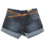 Shorts Jeans Pull-ga Infantil Juvenil Menina Com Cinto - 249