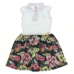 Vestido Alakazoo Infantil Polo Barrado Floral 28841