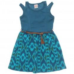 Vestido Brandili Infantil Juvenil Ombro Recorte Cinto 29893