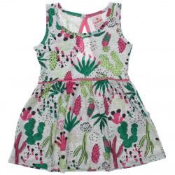 Vestido Brandili Infantil Malha Floral Recorte Costas 30654