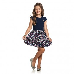 Vestido Infantil Elian Barra Estampada e Pingente 30021