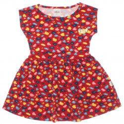 Vestido Infantil Elian Estampado Com Pingente Coração 30009