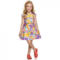 Vestido Infantil Elian Estampado Floral com Cinto 31483