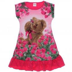 Vestido Infantil Elian Estampado Ursa com Flores 31479