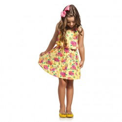 Vestido Infantil Elian Floral Babado Sobreposto 30031