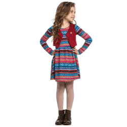 Vestido Inverno Infantil Elian Abstrato com Colete Veludo 30904