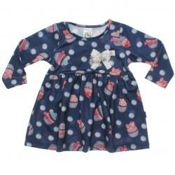 Vestido Inverno Pulla Bulla Bebê Ursinhos e Cupcakes Laço 31242