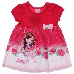 Vestido Jolie Infantil Barra Flores e Laço com Pingente 31443