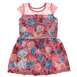 Vestido Marie Infantil Floral Ombro Renda e Cinto