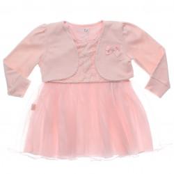 Vestido Paraíso Bebê Barra em Tule e Bolero Suedine Strass 31171