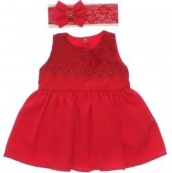 Vestido Paraíso Bebê Bordado Flor Strass e Faixa 30240