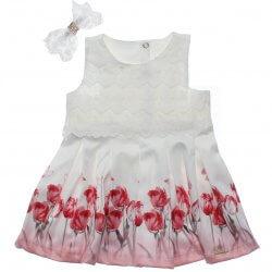Vestido Paraíso Bebê Com Renda e Flores Tulipa 31669