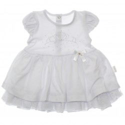 Vestido Paraíso Bebê Cotton Coroa Strass 30235