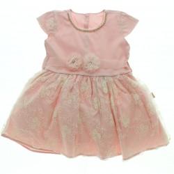 Vestido Paraiso Bebê Decote Com Strass Aplique Flor 28789