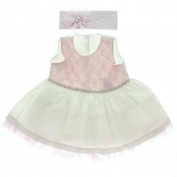 Vestido Paraiso Bebê Flores Em Renda Com Strass 28786