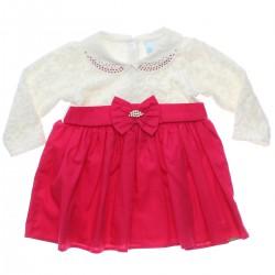 Vestido Paraíso Bebê Malha Trabalhada Veludo Laço 31170