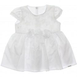 Vestido Paraíso Bebê Organza e Aplique Flor Batizado 30234