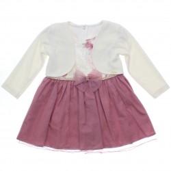 Vestido Paraíso Infantil Floral Barrado Liso Tule e Bolero 31155