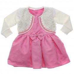 Vestido Paraíso Infantil Jacquard Corações e Bolero Pêlo 31173