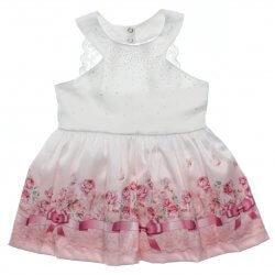 Vestido Paraíso Infantil Tachas e Barra Floral Renda Costas 31696