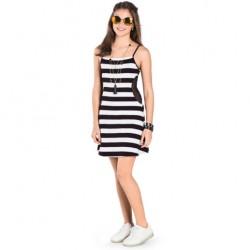 Vestido Rovitex Teen Alça Listrado Recorte Lateral 30527