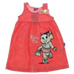 Vestido Turma da M�nica Infantil Aplique La�o Strass