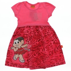Vestido Turma da M�nica Infantil Barra Estampa Floral 28575