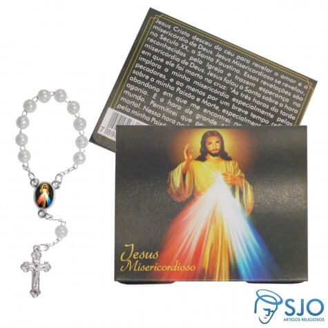 50 Cartões com Mini Terço de Jesus Misericordioso