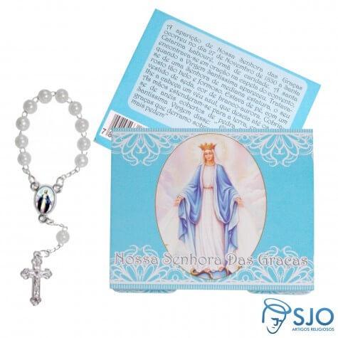 50 Cartões com Mini Terço de Nossa Senhora das Graças