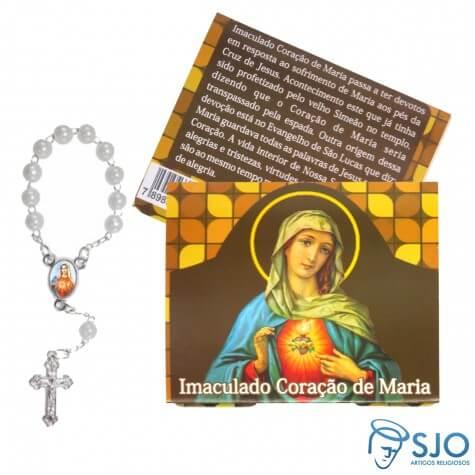Cartão com Mini Terço do Imaculado Coração de Maria