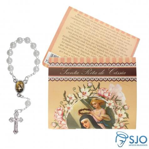 25 Cartões com Mini Terço Santa Rita de Cássia