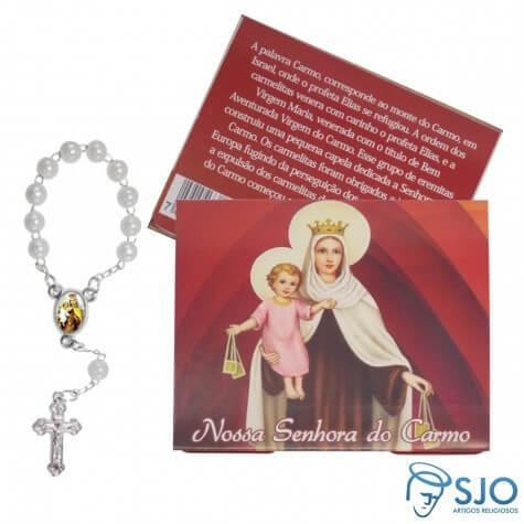 100 Cartões com Mini Terço de Nossa Senhora Carmo