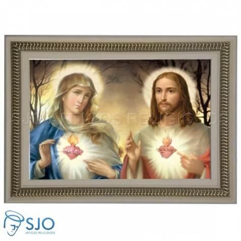 Quadro Religioso Sagrado Cora��o de Maria e Jesus