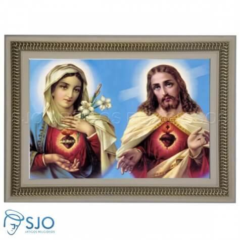 Quadro Religioso Sagrado Coração de Jesus e Maria