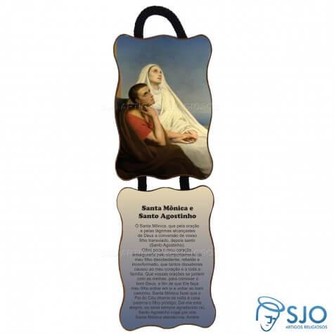 Adorno de porta retangular - Santa M�nica e Santo Agostinho