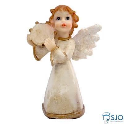 Anjo de Resina com Pandeiro - 10 cm