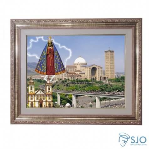 Quadro - Nossa Senhora Aparecida Basílica ao Fundo - 52 cm x 42 cm