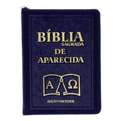 Bíblia Sagrada de Aparecida com Capa de Ziper na cor Azul e Índice Vermelho