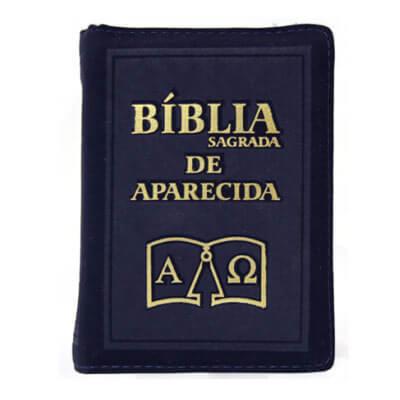 B�blia Sagrada de Aparecida com Capa de Ziper Simples na cor Azul