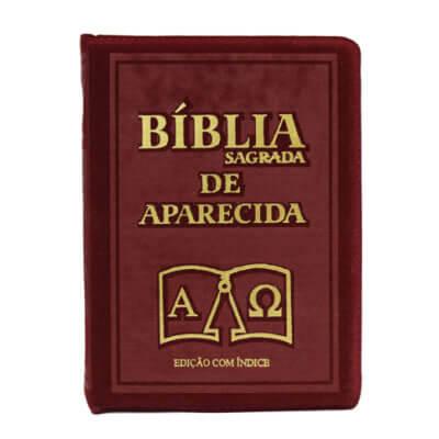 Bíblia Sagrada de Bolso Aparecida com Capa de Ziper na cor Bordo