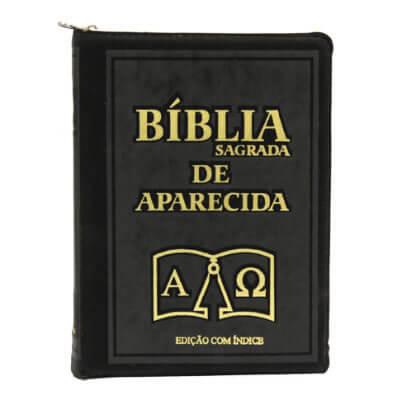 B�blia Sagrada de Bolso Aparecida com Capa de Ziper na cor Preta